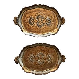 Louis XVI Italian Florentine Gold Leaf Trays - a Pair