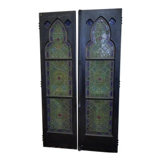Set Antique Gothic Revival Stained Glass Window Doors W/ Silver Overlay