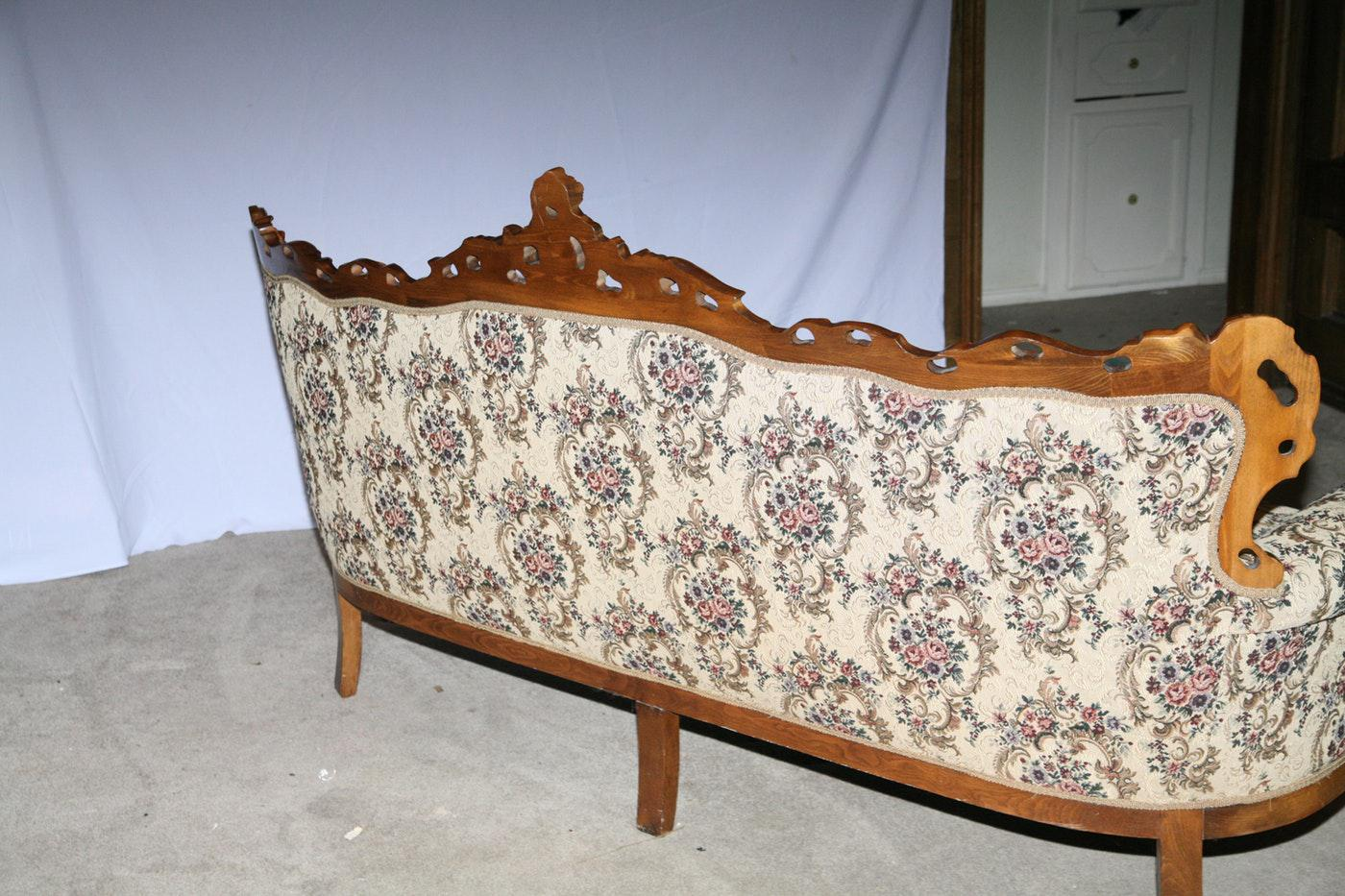 Victorian Style Decorative Floral Upholstered Parlor Sofa   Image 3 Of 3