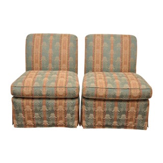 Piedmont Brunschwig & Fils Scroll Back Armless Slipper Chairs- A Pair