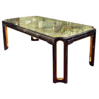 Maison Jansen Eglomise Glass Top Dining Table