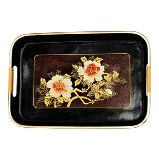 Vintage Asian Motif Rattan and Lacquer Floral Tray