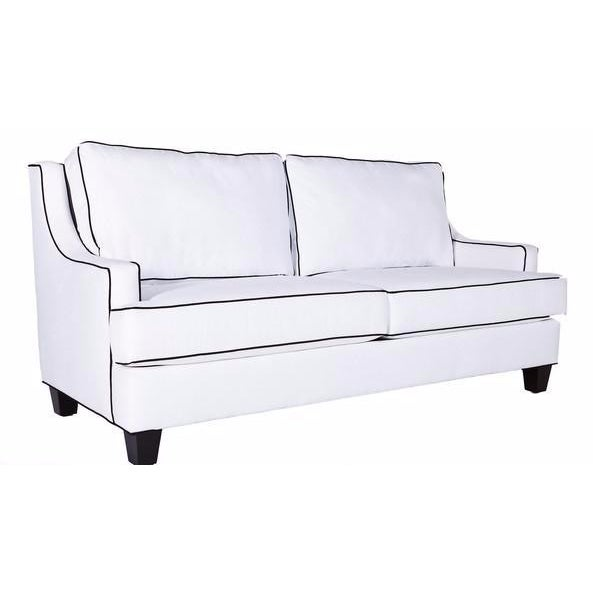 Custom white twill sofa with navy piping chairish for Navy blue sectional sofa with white piping