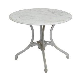 "Antique Cast Iron Round Marble Top Garden Table ""J. Hinkel"""