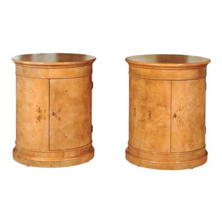 Stunning Pair of Vintage Bookmatched Olivewood Drum Cabinets by Henredon