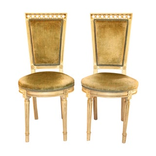 Louis Style Velvet Accent Chairs - A Pair