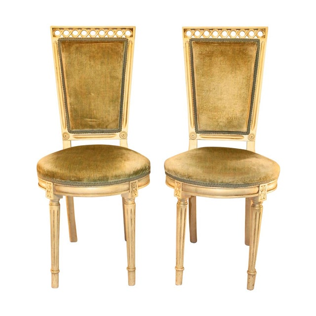 Image of Louis Style Velvet Accent Chairs - A Pair