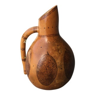 Handmade Signed Gourd Pitcher