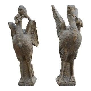 Pair of Sandstone Birds