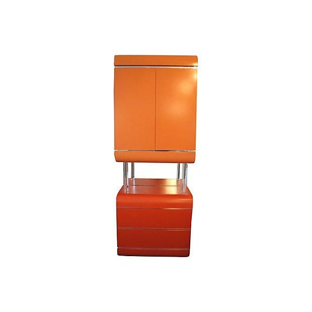 Image of Lighted Wood Cabinets With Lucite and Mirror - 2