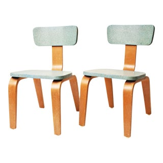 Mid-Century Modern Light Blue Bentwood Child's Chairs- A Pair