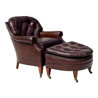 Leathercaft Leather Chesterfield Style Chair & Ottoman