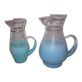 Blue Vintage Blendo Glass Pitchers - A Pair