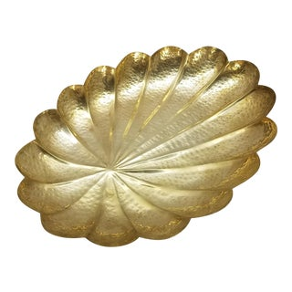 Scalloped Hammered Brass Bowl