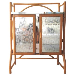 Mid Century Bamboo Mirrored Bar Cabinet
