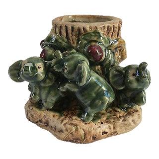 Vintage Majolica Elephants Vase