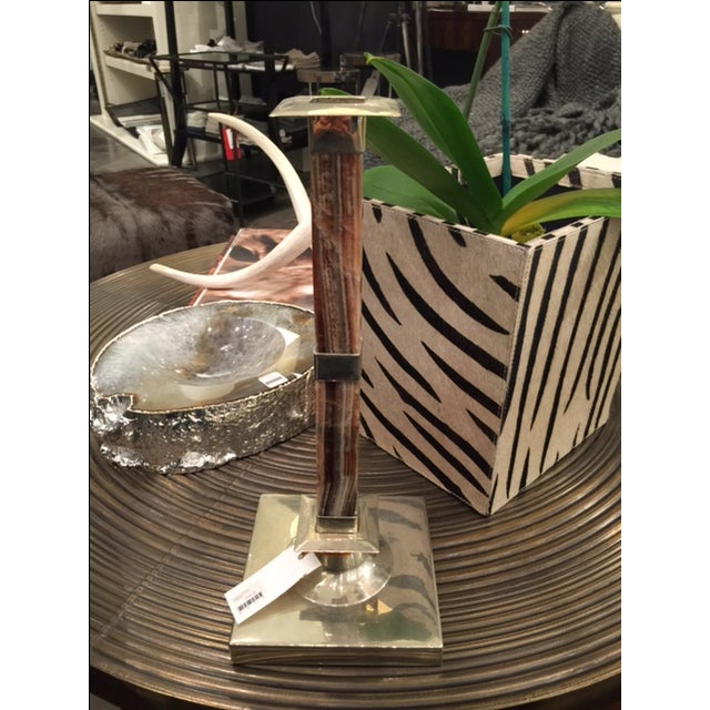 Image of Onyx & Silver Candlesticks- A Pair