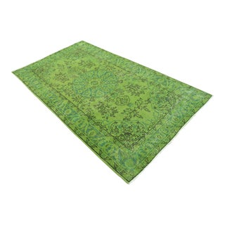 """Turkish Green Overdyed Hand Knotted Rug - 4'2"""" X 7'5"""""""