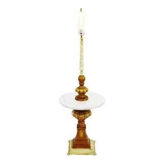 Vintage Hollywood Regency Marble Table Top Floor Lamp