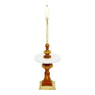 Vintage Hollywood Regency Marble Table Top Floor Lamp