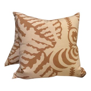 Quadrille Alan Campbell Pillows in Camel & Linen Ferns - a Pair
