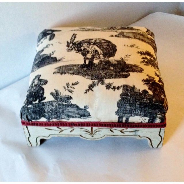 Painted French Footstool with Black & White Toile - Image 4 of 6