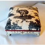 Image of Painted French Footstool with Black & White Toile