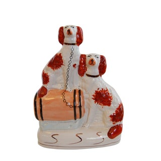 Antique Porcelain Staffordshire Dogs With Barrel