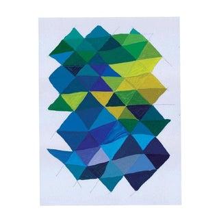 Geometric Blue & Green Mixed Media Painting
