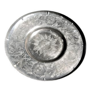 Mid-Century Floral Aluminum Tray