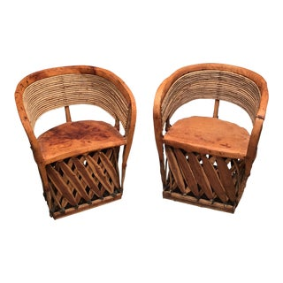 Vintage Mexican Equipale Chairs - A Pair