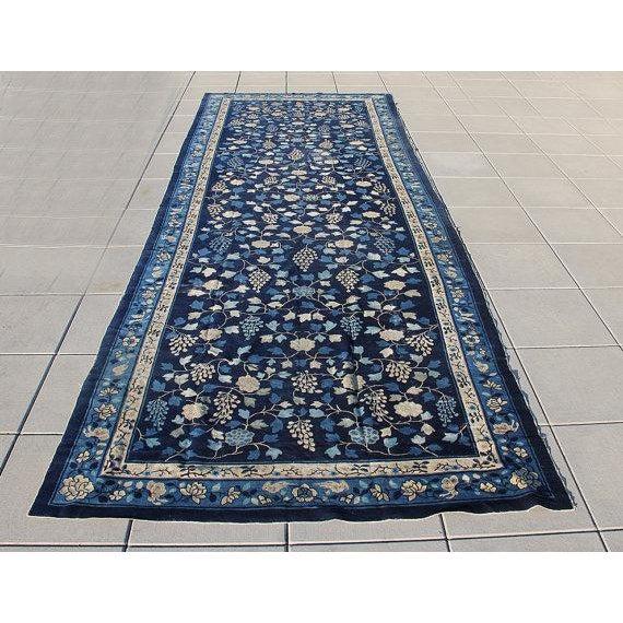 Indigo Blue Chinoiserie Art Deco Rug - 7′ × 20′ - Image 2 of 5