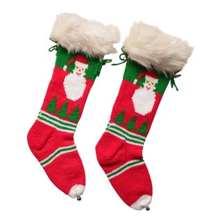 Vintage Hand-Knit Santa & Reindeer Stockings - A Pair