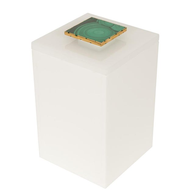 Image of Tall White Box With Malachite Top - Medium
