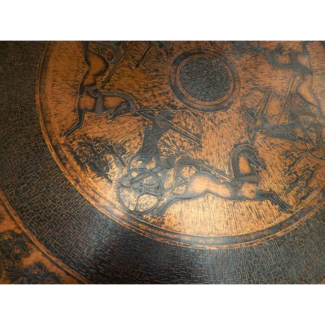Egyptian Theme Stamped Copper Coffee Table Ca 1970 - Image 6 of 7