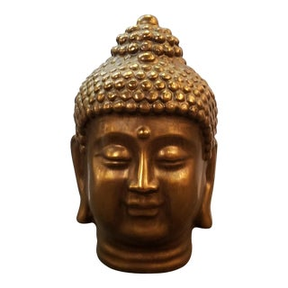 Mid-Century Bronze Finish Ceramic Buddha Head