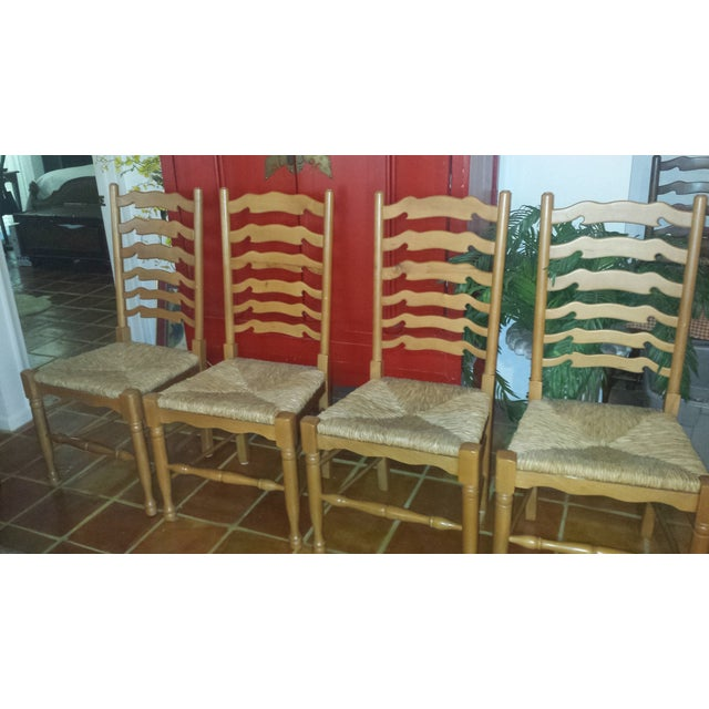 Ladderback Pine Chairs - Set of 4 - Image 3 of 8
