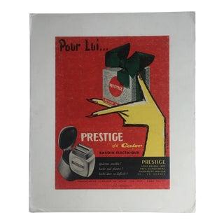 """1950s Original French Advertisement Men's Razor """"Pour Lui"""""""