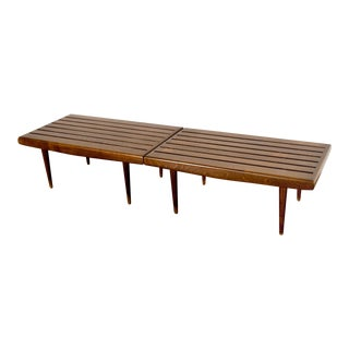 Mid Century Nelson Style Walnut Slat Benches - A Pair