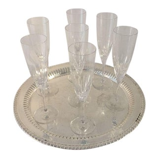 Waterford Marquis Champagne Glasses & Silver Plate Tray - Set of 8