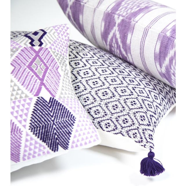 Handwoven Purple & Grey Guatemalan Pillow - Image 3 of 7