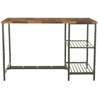 Industrial Desk with Mixed Wood Surface