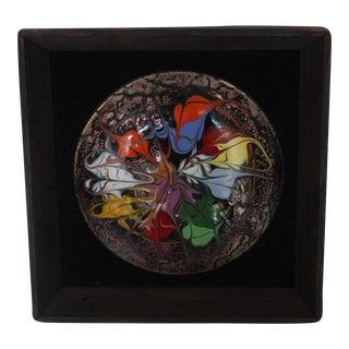 Mid-Century Glass & Copper Plaque