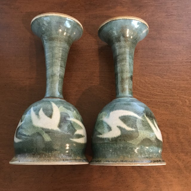 Blue & Green Ceramic Goblets - A Pair - Image 3 of 9
