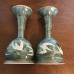 Image of Blue & Green Ceramic Goblets - A Pair