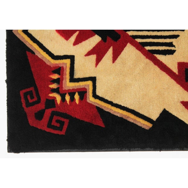 1930s Mounted Geometric Hand-Hooked Rug - Image 3 of 5