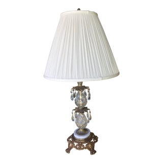 Vintage Hollywood Regency Bronze & Glass Table Lamp