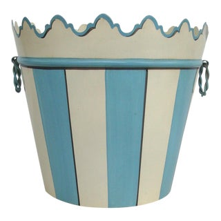 Blue & White Tole Cache Pot or Waste Bin