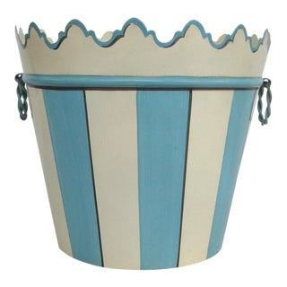 Blue & White Tole Cache Pot or Waste Bin