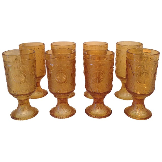 Vintage Amber Glass Tumblers - Set of 8 - Image 1 of 4